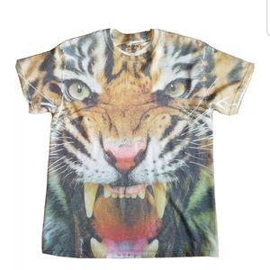 Tiger T Shirt All Over Front Print Tee Mens Medium